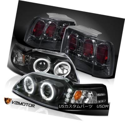 ヘッドライト 黒99-04 Mustang LEDハロープロジェクターヘッドライト+ Smo   keリアブレーキテールライト