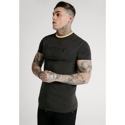 シックシルク Tシャツ メンズ トップス STRAIGHT HEM GYM - Basic T-shirt - black & gold