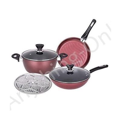 新品 miaosss Cookware Set, 4 Piece Set with Lid Non-Stick Pan for All Stoves並行輸入品