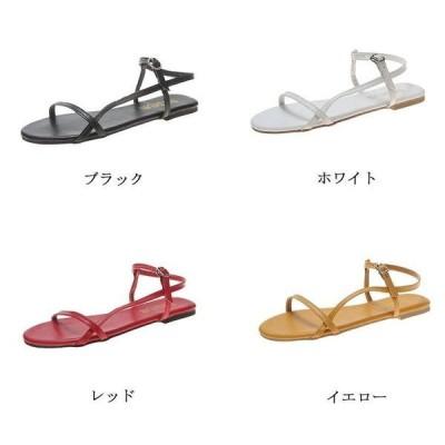 ミュールサンダル レディース 細めストラップ ぺたんこ 歩きやすい ビーチサンダル 靴 シューズ