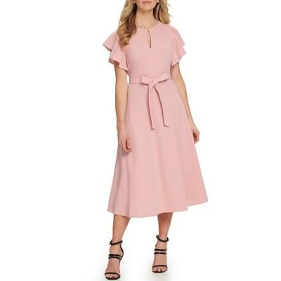 ダナ キャラン ニューヨーク レディース ワンピース トップス Key Hole Neckline Flutter Sleeve Stretch Scuba Crepe Tie Waist Midi Dress