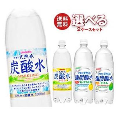 送料無料 サンガリア 伊賀の天然水 炭酸水 選べる2ケースセット 1Lペットボトル 24本入 ※北海道・沖縄・離島は別途送料が必要。