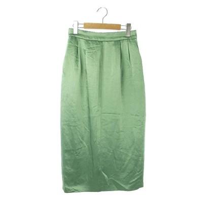【中古】ロペ ROPE mademoiselle 20SS タイトサテンスカート ロング 38 緑 /KN ■OS レディース 【ベクトル 古着】