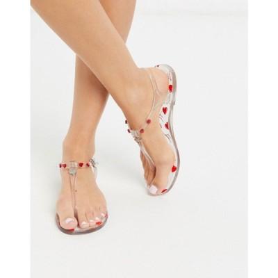 モスキーノ Love Moschino レディース サンダル・ミュール フラット シューズ・靴 Heart Jelly Flat Sandals In Clear クリア