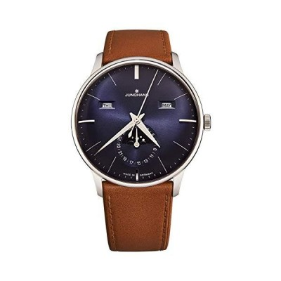 Junghans Men's 'Meister Kalendar' Moonphase Automatic Watch - Blue Dial with Silver Luminous Hands - Sapphire Crystal and Brown Leather Stra