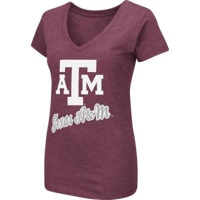 コロシアム レディース Tシャツ トップス Colosseum Women's Texas A&M Aggies Maroon Dual Blend V-Neck T-Shirt