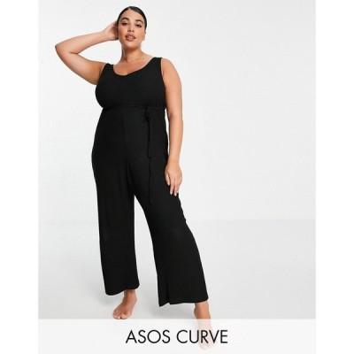 エイソス ASOS Curve レディース オールインワン ジャンプスーツ ASOS DESIGN Curve mix & match lounge super soft rib jumpsuit with waist tie in black
