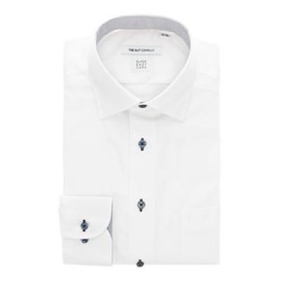 【SUPER EASY CARE・再生繊維】ワイドカラードレスシャツ 織柄 〔EC・FIT〕
