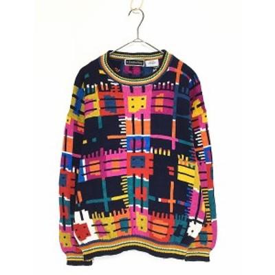 レディース 古着 Christine Foley カラフル アート ブロック デザイン コットン ニット セーター 2 L位 古着