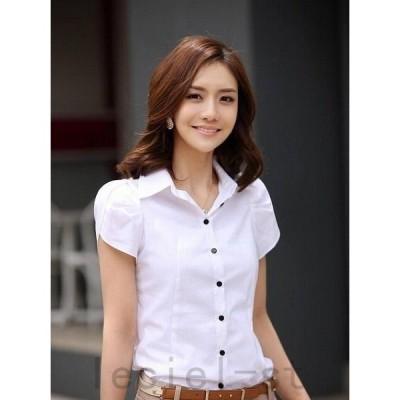 2021新作シャツ 半袖 レディース ブラウス 大きいサイズ フリル袖 インナー 白シャツ ブラウス ビジネス