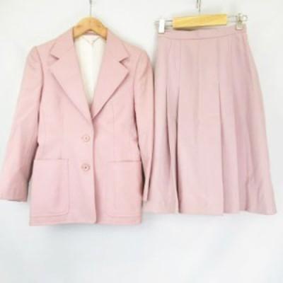 【中古】ロペ ROPE LA MODE ウール スカート スーツ セットアップ 2Bシングルジャケット タック入り スカート ピンク7