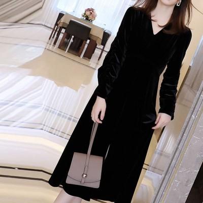 2020年新作 レディース 女性らしい 着痩せ 美シルエット 長袖 Vネック 大人 キレイめ 通勤用  ワンピース Aラインワンピース ドレス