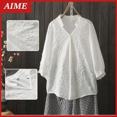 シャツ レディース 刺繍 レース プルオーバー ブラウス トップス ロングシャツ 30代 40代 50代 ゆったり 白シャツ シャツカーディガン