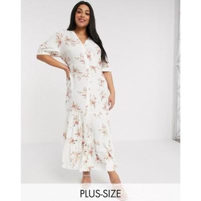 リバーアイランド River Island Plus レディース ワンピース シャツワンピース ワンピース・ドレス floral print maxi shirt dress in cream クリーム