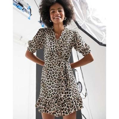 トップショップ レディース ワンピース トップス Topshop animal print wrap midi dress in multi Multi