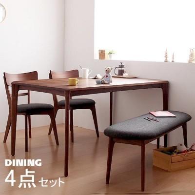 ダイニング 4点セット(テーブル+チェア2+ベンチ1) W150 天然木 おしゃれ ウォールナット 無垢材