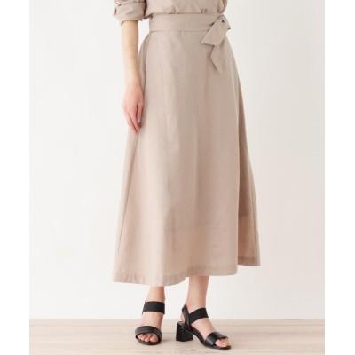HusHusH(Ladies)(ハッシュアッシュ(レディース)) 【洗濯機OK】リボンベルトロングスカート