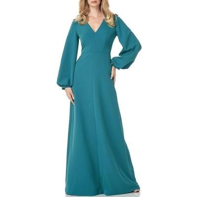 ケイアンガー レディース ワンピース トップス Long Bishop Sleeve V-Neck Crepe A-Line Dress Dark Aqua