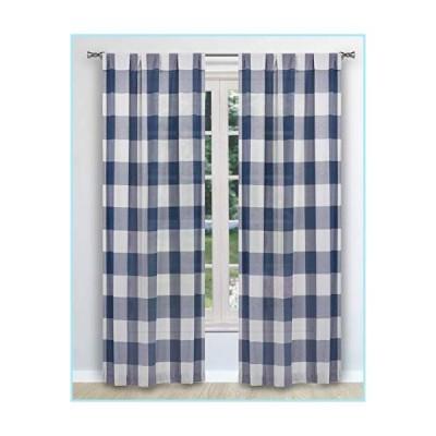 "新品Blackout 365 Aaron Buffalo Check Window Curtain, 37"" W x 84"" L, Navy Pole Top"