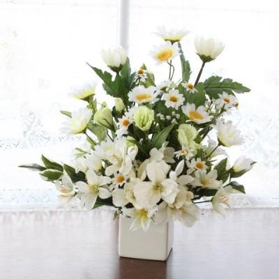 お供え 花 デージーとトルコキキョウのアレンジ 造花 供花 CT触媒