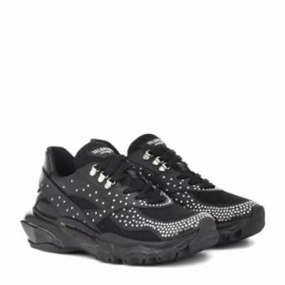 ヴァレンティノ スニーカー Garavani embellished leather sneakers Black