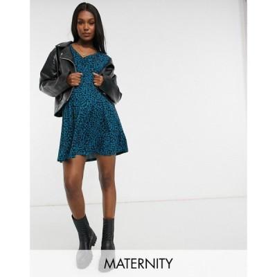 ニュールック New Look Maternity レディース ワンピース ミニ丈 ワンピース・ドレス Cosy Soft Touch Mini Dress In Teal Spot グリーンパターン