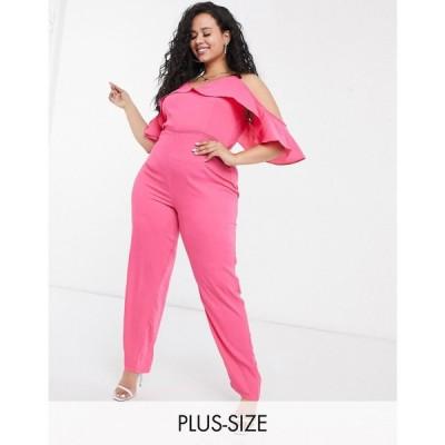 プリティーダーリン Pretty Darling Plus レディース オールインワン ジャンプスーツ strappy jumpsuit with ruffle layer ダークフューシャ