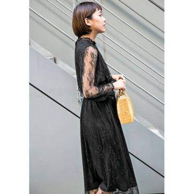 【ミリオンカラッツ】 チュール刺繍ワンピース レディース ブラック F Million Carats