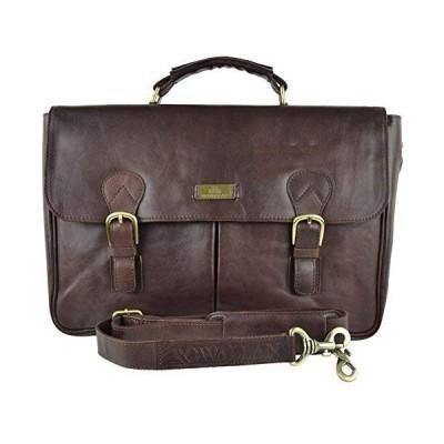 Rowallan of Scotland Mens Buffalo Leather Briefcase Verona Collection Classic Veg Tan 並行輸入品