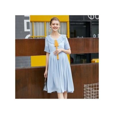 リボン ブルー マタニティドレス フォーマル パーティードレス お呼ばれドレス kh-1084