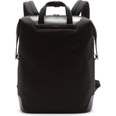 ポールスミス Paul Smith メンズ バックパック・リュック バッグ Logo-embossed leather and mesh backpack Black