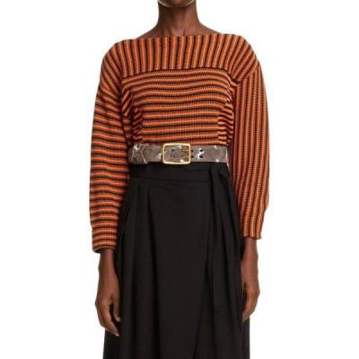 クロエ CHLOE レディース ニット・セーター トップス Stripe Boatneck Cotton Sweater Orange