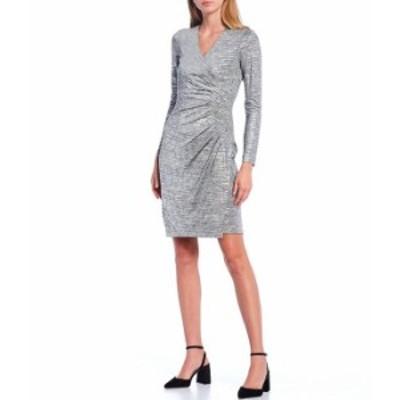 カルバンクライン レディース ワンピース トップス Metallic V-Neck Long Sleeve Ruched Waist Mock Wrap Dress Metallic
