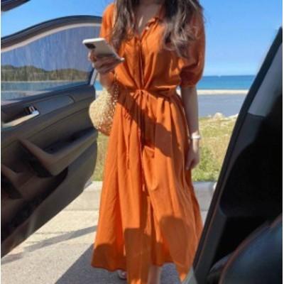 シャツワンピース ロング ルーズ フレア 半袖 ゆったり シンプル 大人可愛い カジュアル リゾート 韓国 オルチャン ファッション
