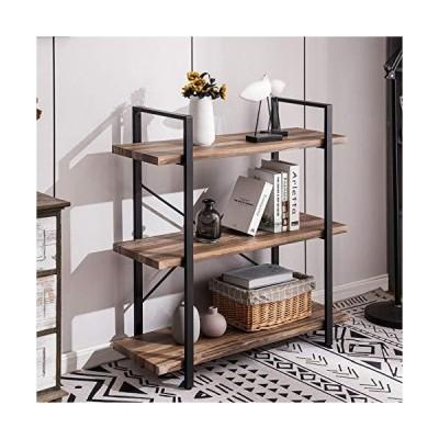 Apicizon 3Tier Bookshelf with Industrial Shelves Open Vintage Wood and Meta