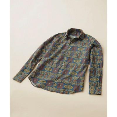 シャツ ブラウス Bagutta/プリントオープンカラーシャツ ジオメトリック