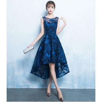 ドレス 優雅 イブニングドレス 前短後長 ミニ丈  ワンピドレス ピアノ 二次会 披露宴 ディナー デート