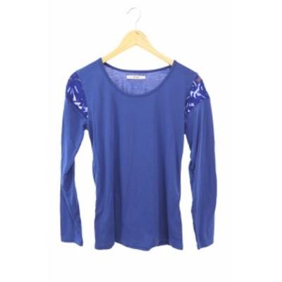 【中古】ブージュルード Bou Jeloud Tシャツ カットソー クルーネック 刺繍 チュール  長袖 M 青 ブルー /YS11 レディース