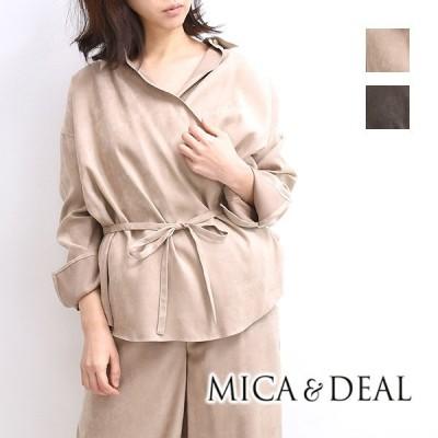 【30%OFF】【セール】MICA&DEAL マイカ&ディール フェイクスエードカシュクールシャツ M17D163SH レディース【返品・交換不可】