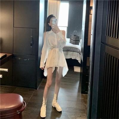 [55555SHOP]夏も使える♪♪💖限定SALE💖韓国ファッション シンプル セクシー  露の肩  シャツ ワンピース カレッジ風 CHIC気質 スリム 着痩せ ワンピース  春夏新商品 韓国風