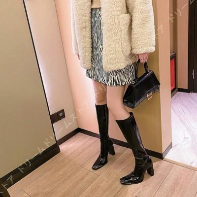 ロングブーツ 黒 レディース コスプレ ブーツ コスプレ 歩きやすい 美脚 ヒール ロング ブーツ 大きいサイズ 痛くない 履きやすい カジュアルシューズ 太ヒール