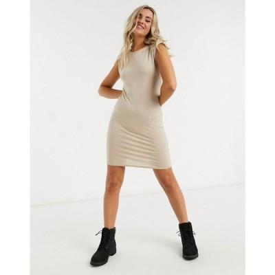 ニュールック New Look レディース ワンピース ワンピース・ドレス Shoulder Pad Tshirt Dress In Stone ベージュ