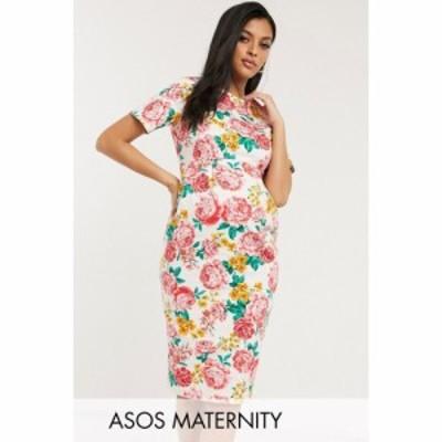 エイソス ASOS Maternity レディース ワンピース マタニティウェア ワンピース・ドレス ASOS DESIGN Maternity wiggle midi dress in flo