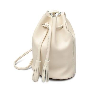 [エーエムエス] 巾着バッグ ミニポーチ付き レディース ミニショルダーバッグ 丸底 ホワイト