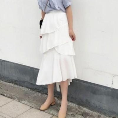 新作 春 夏 ティアードスカート ロングスカート マキシ フリル 清楚 フェミニン 可愛い きれいめ きれカジ シンプル 白 黒 デート ボトム