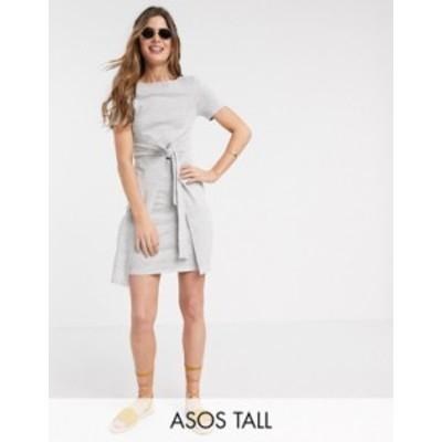 エイソス レディース ワンピース トップス ASOS DESIGN Tall tie front textured mini dress in waffle in gray marl Gray marl