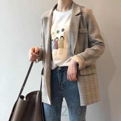 韓国レトロテーラードジャケットレディーススーツジャケット秋チェック柄カジュアルオフィスゆったりフォーマルアウターOL通勤