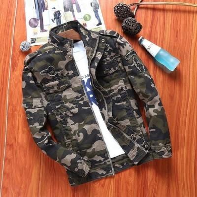 メンズ ジャケット フライトジャケット ミリタリーコート スタジャン デニム 迷彩 ファッション 2色
