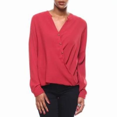 ファッションラボ ブラウス・シャツ mandarin collar button down surplice blouse Burgundy