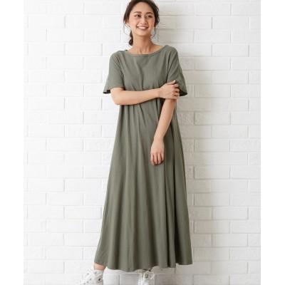 【earth music&ecology】。Aラインカットワンピース (ワンピース)Dress